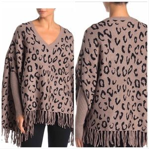 Love Token Animal Print Fringe Sweater NWT